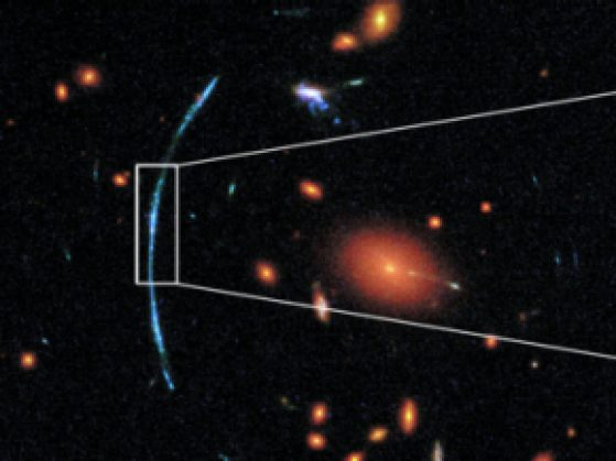 HST image showing distant galaxies which are reddish, with a more distant galaxy which appears as blue arcs due to gravitational lensing. On the right is the reconstruction of the original galaxy