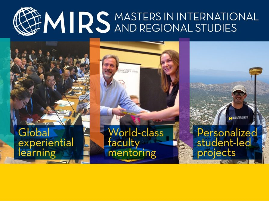 MIRS recruitment banner: The Masters in International and Regional Studies (MIRS Japanese Studies specialization is designed for students interested in understanding the peoples, cultures, and languages of Japan. The program prepares students for onward graduate education, as well as placement into jobs in the private, government, or non-profit sectors. Visit https://ii.umich.edu/cjs/graduate-students/MIRS-japanese-studies.html for more info and to apply.