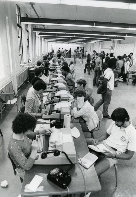 Students sitting for class registration using CRISP