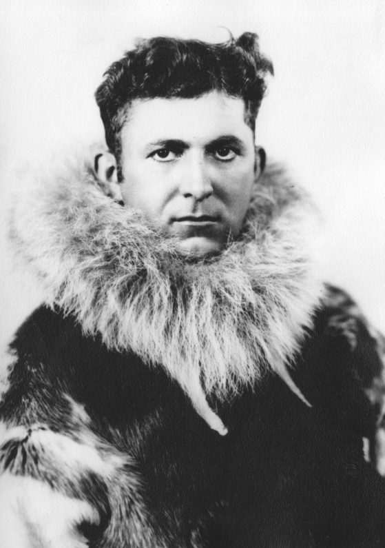 Black and white portrait wearing arctic furs, Laurence M. Gould