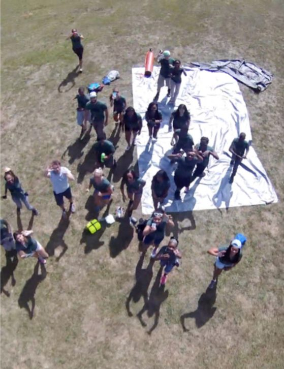Photo taken from the weather balloon of the students watching the launch