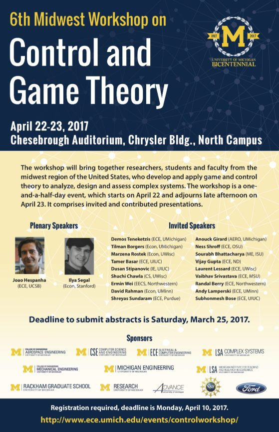 Control and Game Theory workshop poster