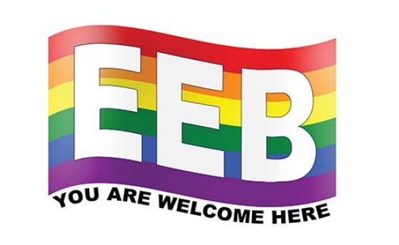 EEB's You Are Welcome Here rainbow logo