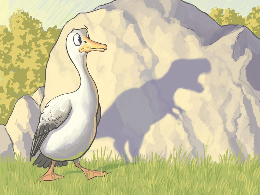A frightened and surprised bird seeing its T-Rex shaped shadow on a rock. Illustration: John Megahan