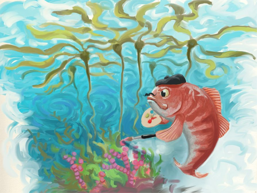 A fish wearing a French beret and with a mustache painting algae pink with a kelp forest in the background