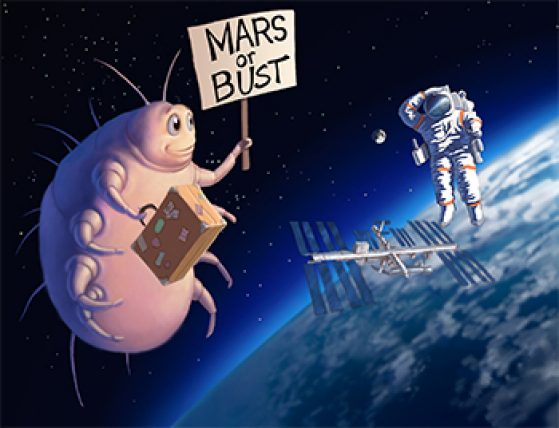 Bulging mite floating by the Space Station in outer space while an astronaut looks on, perplexed. Mite holding suitcase and sign reading Mars or Bust. Illustration: John Megahan.