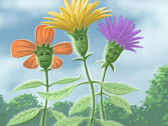 Three flowers with cartoon faces, one orange, one yellow, one purple with trichomes on their leaves and stems. Background of trees, and a partly cloudy sky.