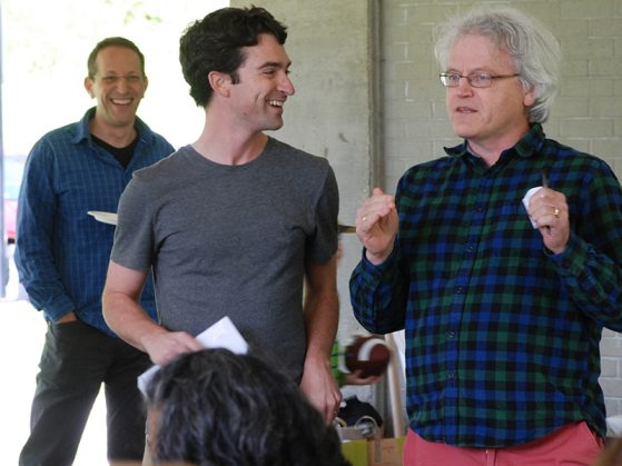 EEB Professor and Chair Diarmaid Ó Foighil presents the EEB Outstanding Paper of the Year Award to Pascal Title.