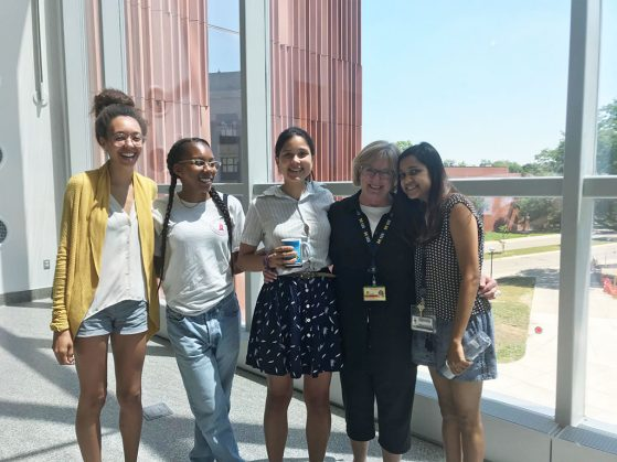 Many students stopped by on Cindy Carl's last day of work to wish her well. Left to right: EEB graduate students Imani Russell, Nia Johnson, Sara Colom, Cindy Carl, Sonal Gupta.