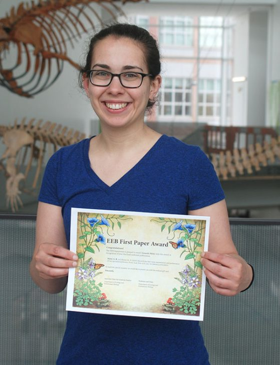 Amanda Meier with her First Paper Award certificate