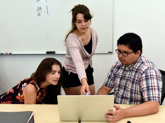 EEB graduate student Kayla Sale-Hale discusses research looking at a laptop with her advisor, Professor Fernanda Valdovinos and Daniel Maes, a graduate student instructor in mathematics.