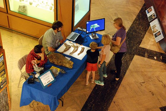 ID Day visitors visit the vertebrate fossils exhibit and explore 3-D imaging.