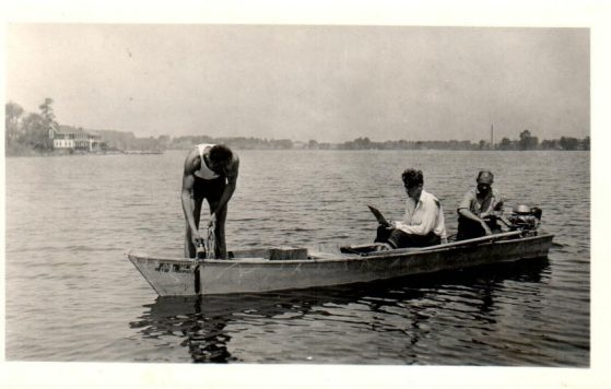 Institute for Fisheries Research survey crew collecting water samples from Bawbeese Lake in Michigan's Hillsdale County, June 1931. Image credit: Michigan Department of Natural Resources