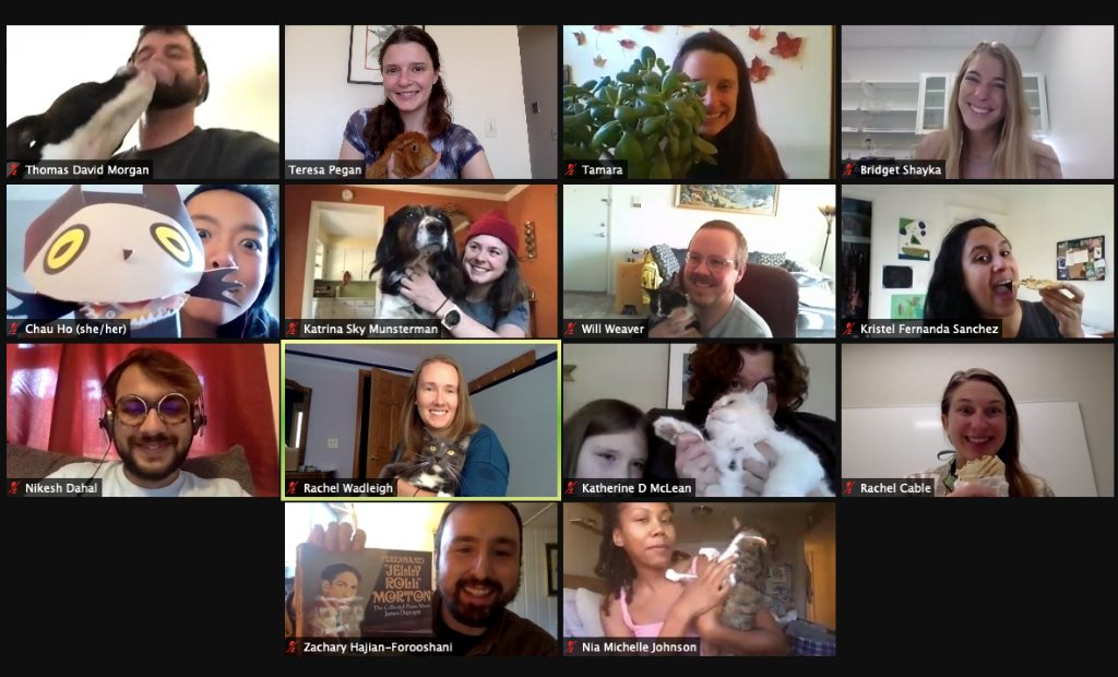 Zoom screenshot from the November GREEBs meeting featuring from top left to right: Tom Morgan with Sadie, Teresa Pegan and Caramelo, Tamara Milton, Bridget Shayka, Chau Ho, Katrina Munsterman, Will Weaver, Kristel Sanchez, Nikesh Dahal, Rachel Wadleigh and Finn, Katherine McLean with Rowan and Banana, Rachel Cable, Zach Hajian-Forooshani, Nia Johnson.