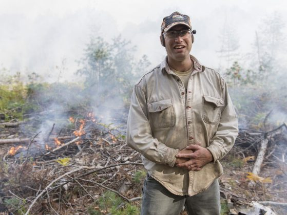 University of Michigan ecologist and biogeochemist Luke Nave during a prescribed fire at the U-M Biological Station in October 2017.