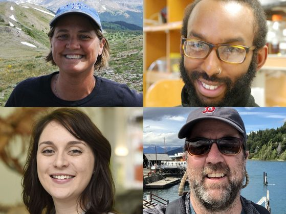 Head and shoulder photos of our newest EEB faculty: Aimée Classen, André Green, Carly Nowicki and Nate Sanders