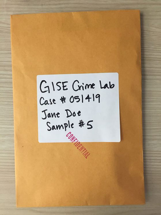 large manilla envelope stamped Confidential and labeled GISE Crime Lab with a Case number, the name Jane Doe and sample number