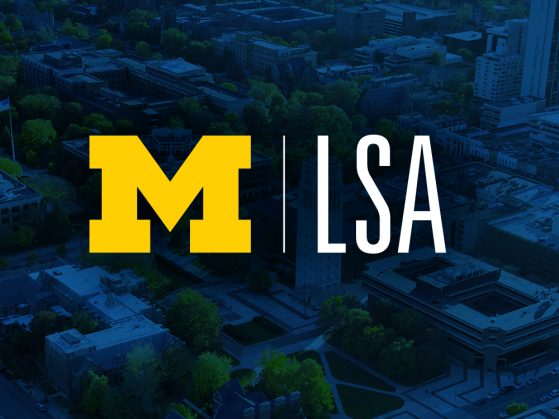 UM|LSA layered across an aerial view of Ann Arbor