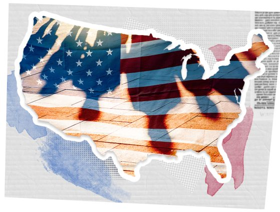 A map of the continental United States with the shadowed silhouettes of four figures' heads and shoulders. A water color treatment of red and blue are at the map's periphery, and a column of blurred text is positioned in the upper right hand corner.