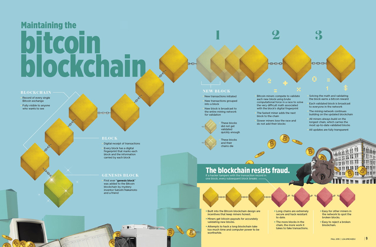"An infographic titled ""Maintaining the Bitcoin Blockchain"" that visually depicts how blockchain technology works."