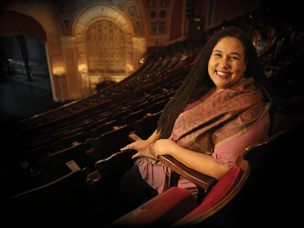 Naomi Andre in the balcony of the Detroit Opera House