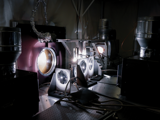 Four old IMAX projectors simulated the sun to help Kasper stress-test the Faraday cup.