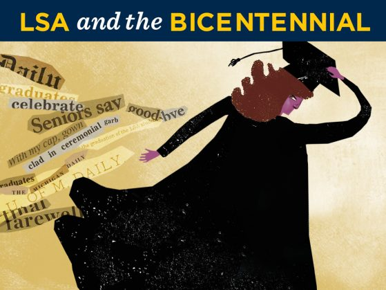 Illustration of student wearing cap and gown. Student is facing away and leaning slightly to the right. The words graduates, seniors say good-bye, with my cap, gown, clad in ceremonial garb, and U of M Daily are on the left side in different fonts and colors as if they had been torn.