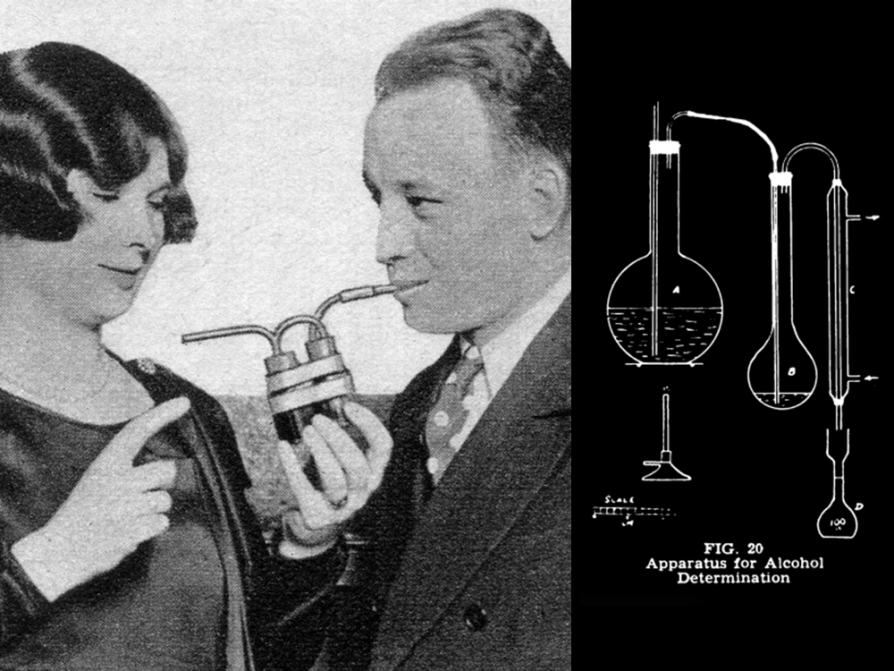 On the left, an image of a woman and man blow into the same breathalyzer with two straws, which reminds a viewer of a romantic couple sipping from the same milkshake. On the right, an early diagram of McNally's breath analyzer invention, which involves a series of connected laboratory flasks.