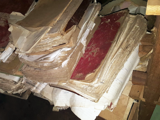 A photograph of a thick, bound book of paper that has suffered water damage.