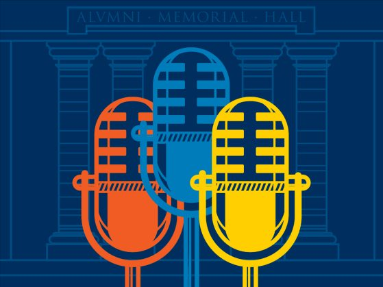 Three retro microphones -- one orange, one royal blue, and one yellow -- against a blueprint-like drawing of a pillored building.