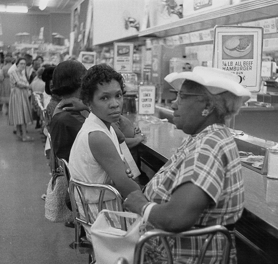 Women at a lunch counter sit-in, circa 1960s.