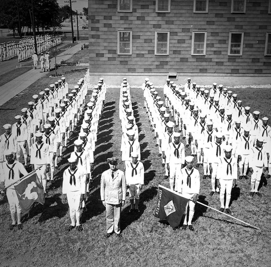 A company of African American recruits at Great Lakes Naval Station, August 1943.