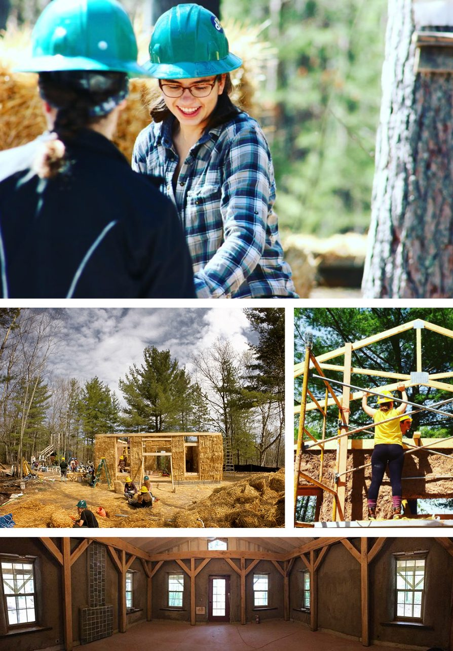 A composite of images. In the first, a young woman wearing a blue-and-white plaid shirt and a turquoise hard hat looks down at her work; below left, the frame of the house filled with bales of straw and below right, students holding horizontal pieces of the frame together; below these images a panoramic image of the house's living room. The rafters are bare and there is a fireplace on one of the left-hand walls.