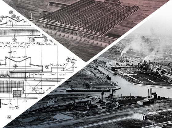 A composite of three triangular images. Clockwise, from top a close-up segment of a sepia-toned drawing of roof beams; a black-and-white aerial photograph of the River Rouge factory; a detail of an architectural drawing.