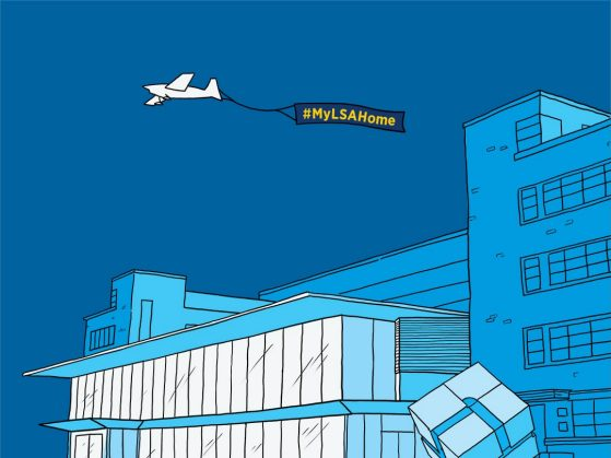 Illustration of the new addition to the LSA Building including the spinning cube and an airplane toting #MYLSAHOME