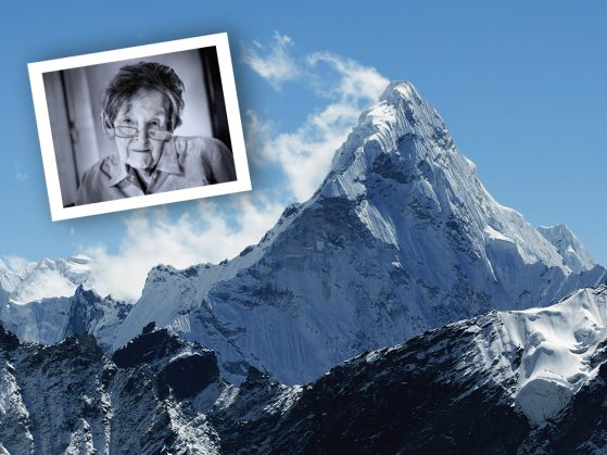 A photograph of Mount Everest with inset of Elizabeth Hawley