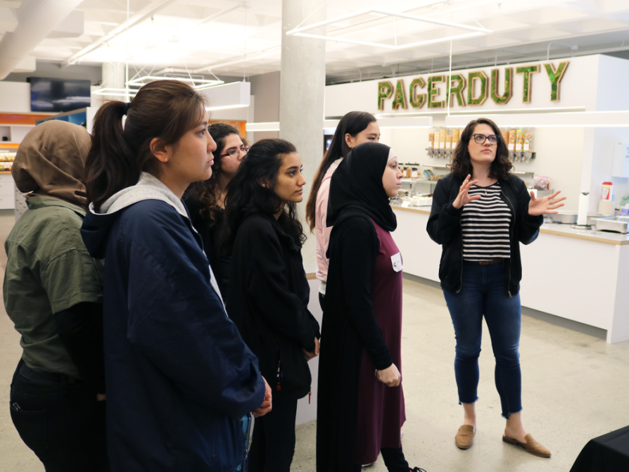 A group of students taking a tour of Pagerduty