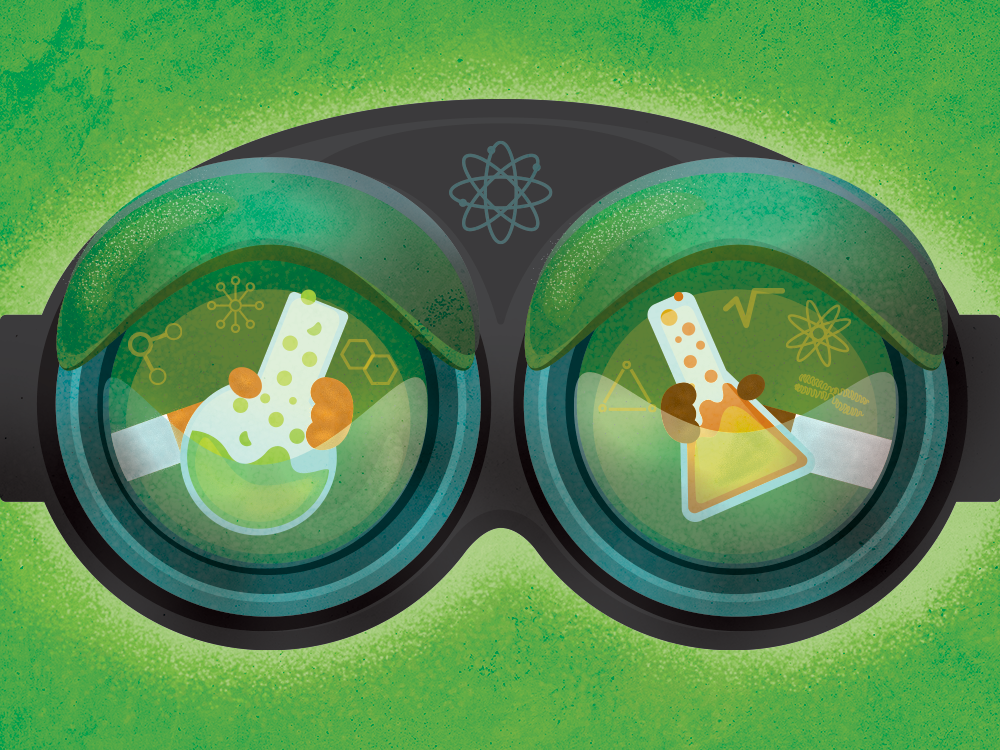Illustration of hands holding beakers within chemistry goggles