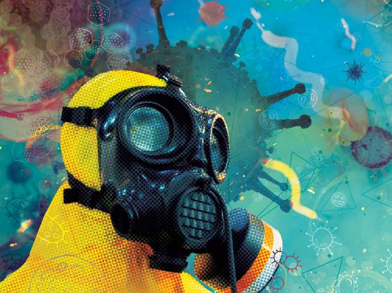 Illustration of a disease detective in a hazmat suit surrounded by bacteria
