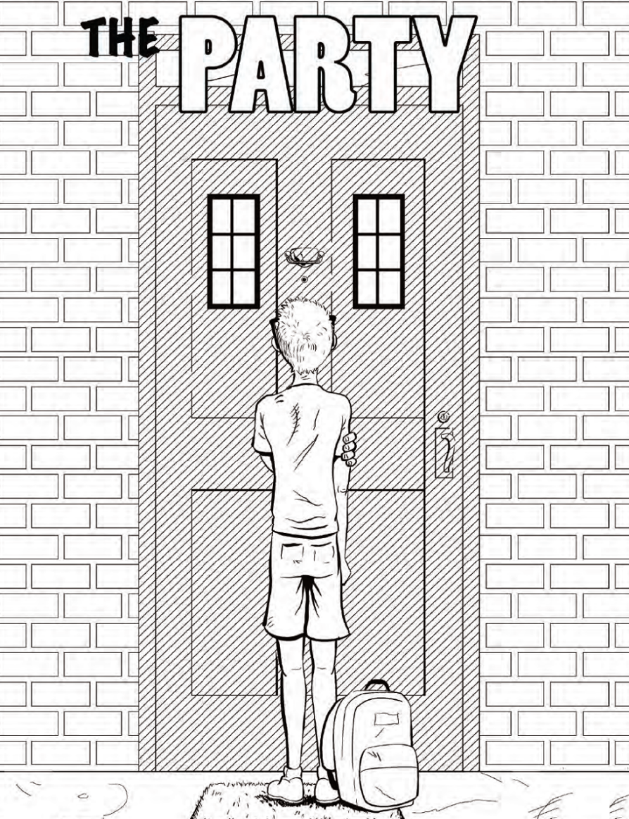 A black and white sketch of a boy standing in front of a closed door in a bricked wall. His backpack sits at his feet.