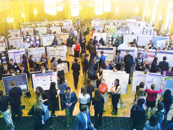 People stand in a large room, such as a ballroom in the Michigan Union, in front of charts and posters they made to summarize their UROP experience. It looks a bit like a science fair, with people moving from presentation to presentation and asking about student experiences.