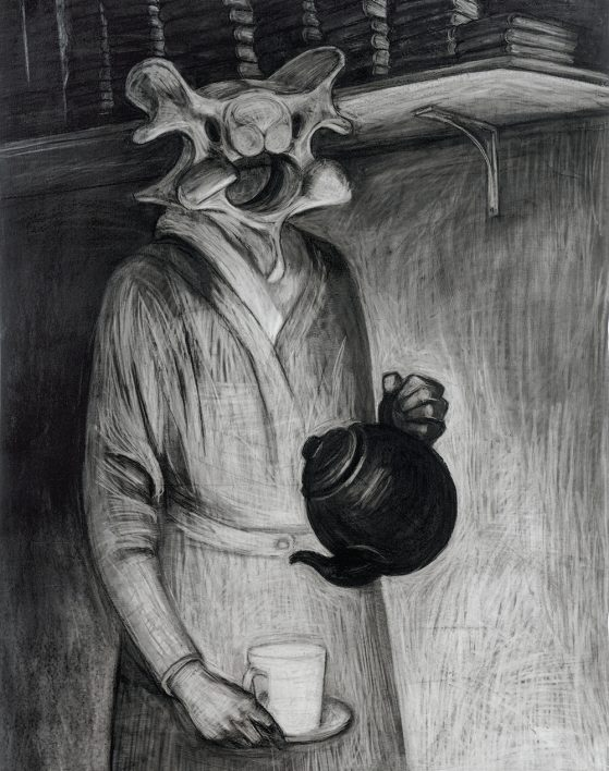 Black and white sketched drawing of a creature in a bathrobe holding a teapot.