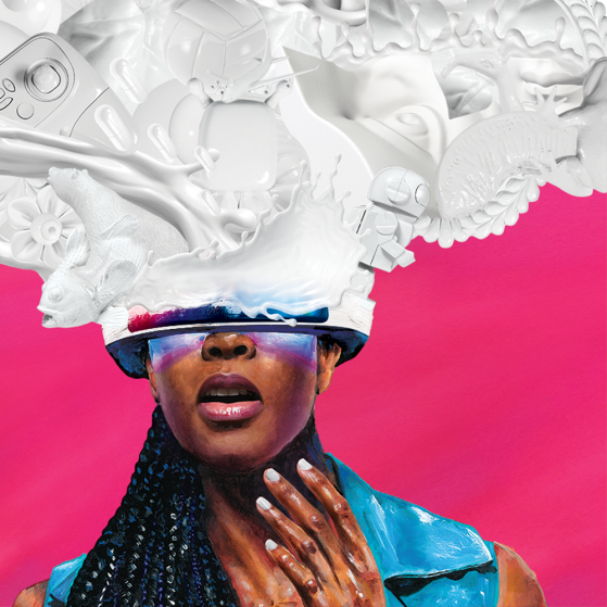 A woman wearing virtual reality glasses that appear to open her vision to a florid, intricate visual world.