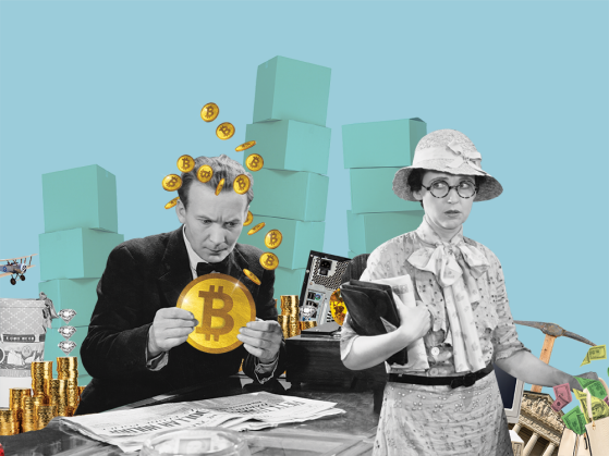 A man holding onto a giant gold coin stamped with a B while a woman wearing a hat and flowery shirt eyes him warily.
