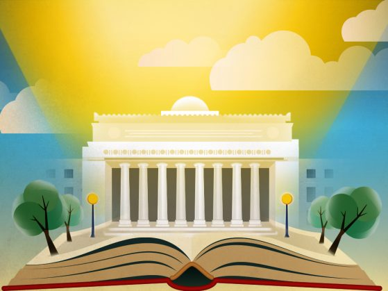 Illustration of Angell Hall radiating sunshine up. There are illustrated clouds. An open book lies where the steps would be. There are trees and street lamps coming off the page.