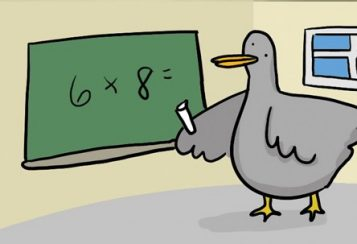 A cartoon pigeon writing 6 x 8 = on a chalkboard