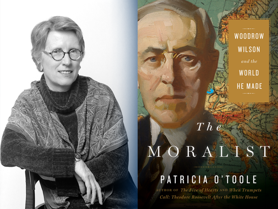 A composite of the O'Toole's author photo -- her elbow balanced across the back of a straight chair, a shawl wrapped around her shoulders -- and the cover of The Moralist, which has an illustrated headshot of Wilson as its primary image.