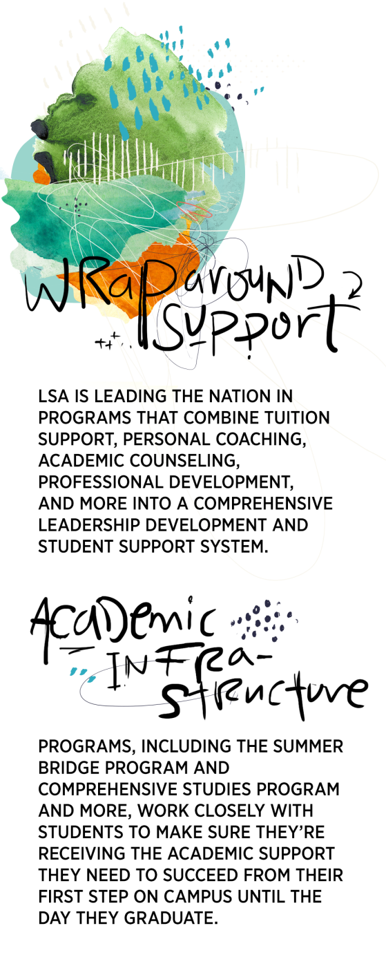 Wraparound Support: LSA is leading the nation in programs that combine tuition support, personal coaching, academic counseling, professional development, and more into a comprehensive leadership development and student support system. Academic Infrastructure: Programs, including the Summer Bridge Program and Comprehensive Studies Program and more, work closely with students to make sure they're receiving the academic support they need to succeed from their first step on campus until the day they graduate.