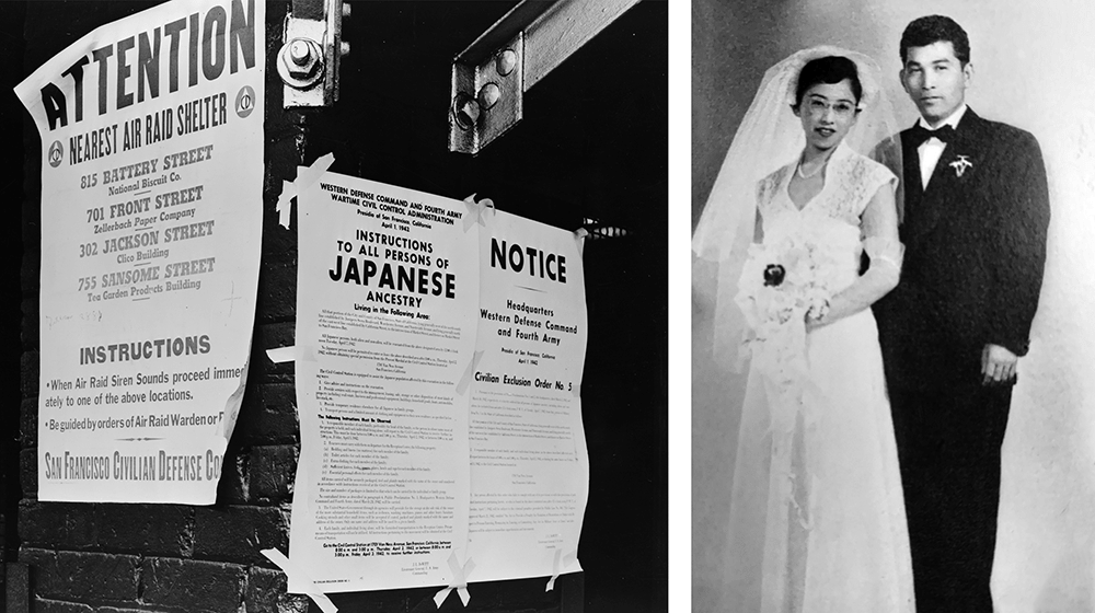 Two photographs: on the left, a photograph of the Civilian Exclusion Order. On the right, a wedding photograph of Mitani's parents.