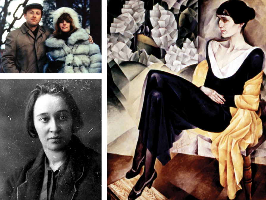 A composite of three images. One is a photograph of Joseph Brodsky and Ellendea Proffer Teasley. Another is a painting of Anna Akhmatova sitting in a chair, wearing a long back dress with a gold wrap draped around her. She is painted sitting on a chair. The final image is a black-and-white photograph of Nadezhda Mandelstam looking to her left. The top right corner of the photograph is worn with age.